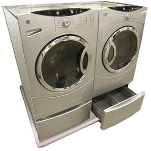 DRIPTITE's combo washer and dryer pan allows the washer and dryer to sit together with no space between