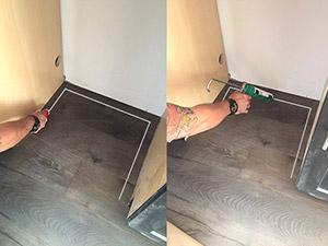 Step 2 - apply adhesive to floor or bottom of Driptite pan